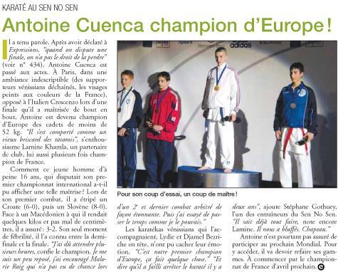 Expressions Vénissieux Antoine Cuenca champion d'Europe