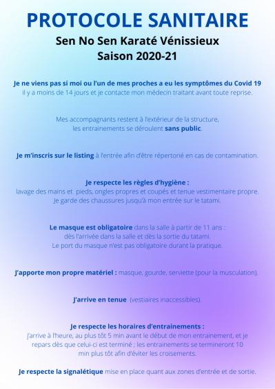 Sen No Sen Karaté Vénissieux - protocole sanitaire